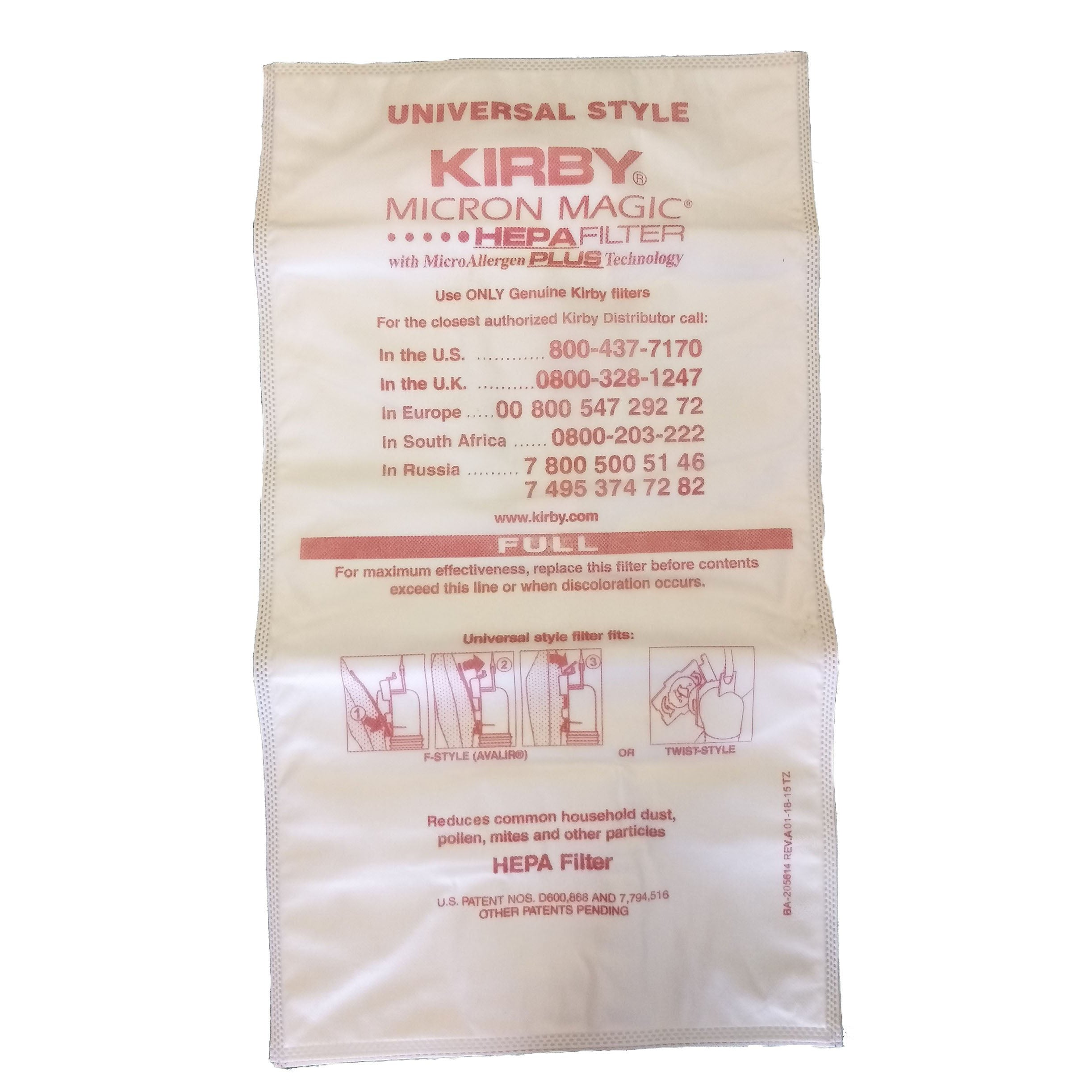 6 x Micron Allergen Plus Bags (for all Kirby models)