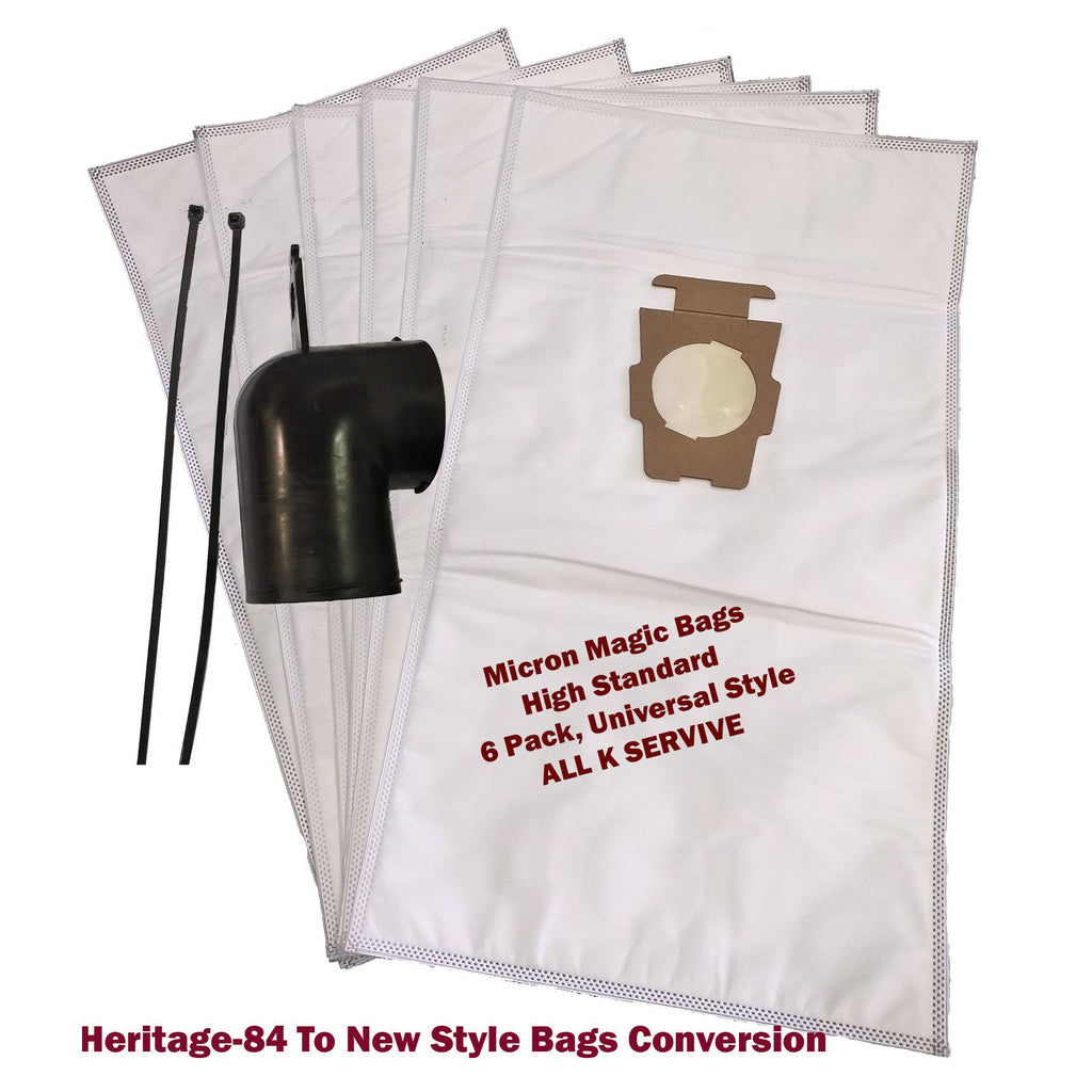 6 X Micron Magic Bags Designed to Fit Kirby Heritage_84 + Top adapter Upgrade