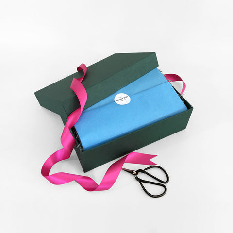 Signature Boost Box - Blue Tissue Magenta Ribbon
