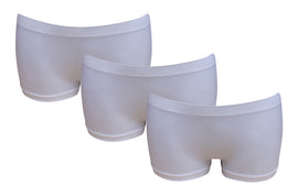 3 Pack of Women's G3 Microfibre Boxer Shorts - Low Waist Boyshorts Underwear - White Boxers