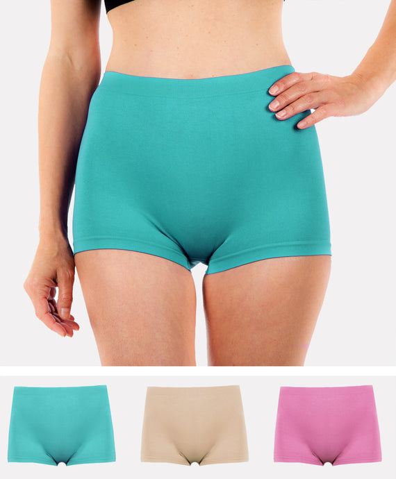 3 Pack of Women's G3 Microfibre Boxer Shorts -High Rise Seamless Boyshorts Underwear -Ladies Boxers