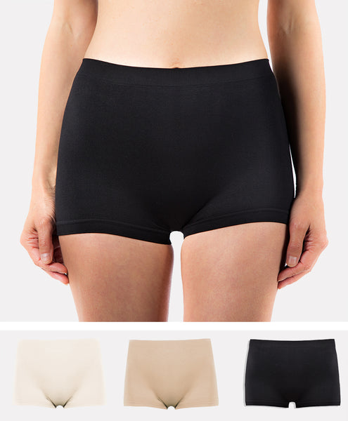 3 Pack of Women's G3 Microfibre Boxer Shorts - High Waist Wicking Seamless Boyshorts Underwear - Black/White/Nude Boxers
