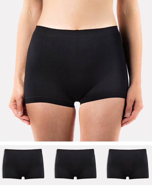3 Pack of Women's G3 Microfibre Boxer Shorts - High Waist Wicking Seamless Boyshorts Underwear - Black Boxers