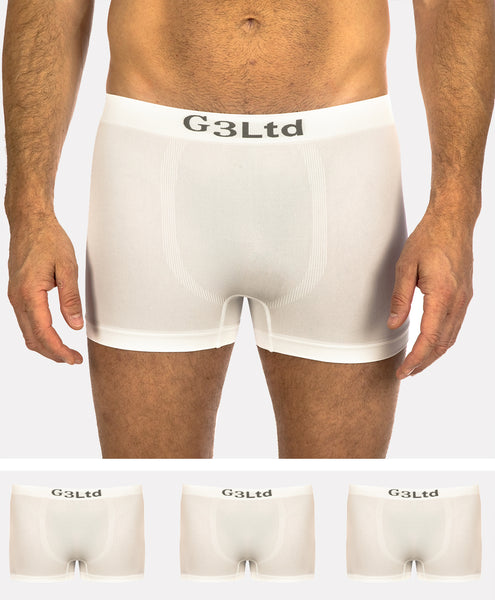 3 Pack of Men's G3 Microfibre Boxer Shorts - Wicking Seamless Underwear - White Boxers