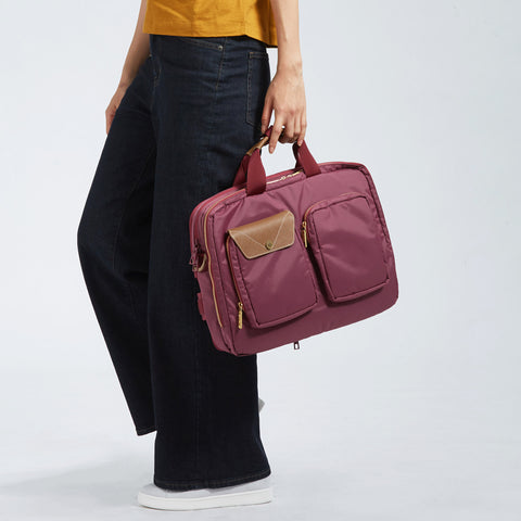 "Lustre 3Way 15.6"" Brief Bag-Maroon"