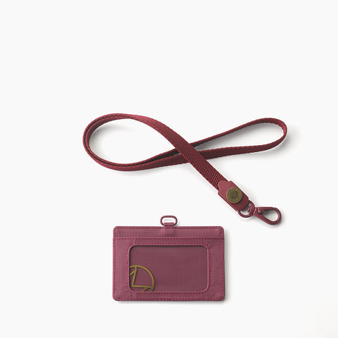 Lustre  Horizontal Badge Holder-Maroon