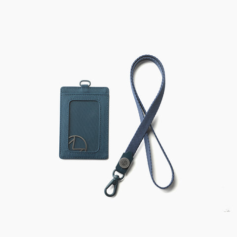 Lustre Vertical Badge Holder-Denim