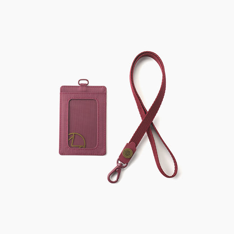 Lustre Vertical Badge Holder-Maroon