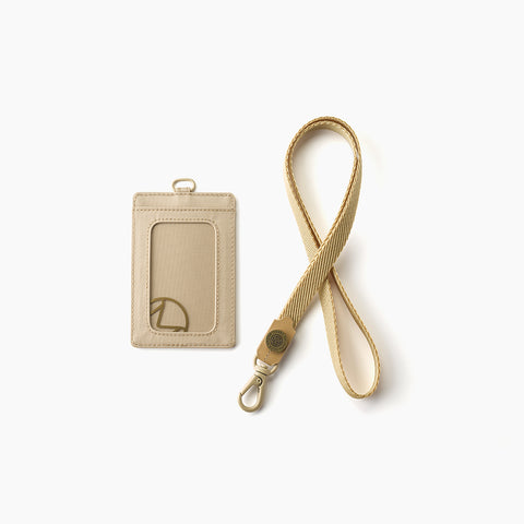 Lustre Vertical Badge Holder-Sand
