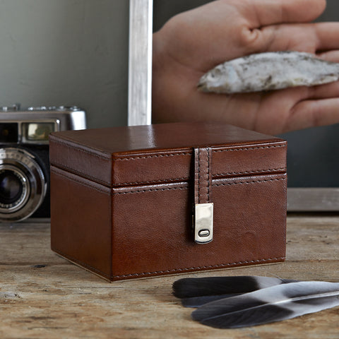 Leather watch box with chrome clasp