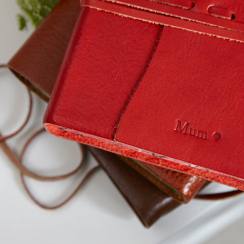 Mum personalised red leather journal