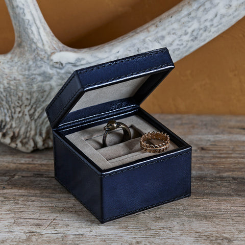 Navy leather ring box two slot