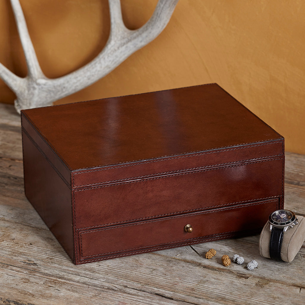 tan leather watch box ten closed