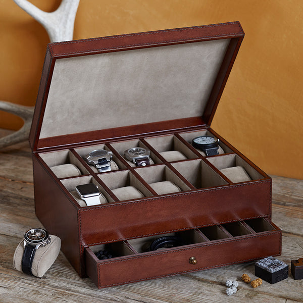 tan leather watch box ten open with removable cushions