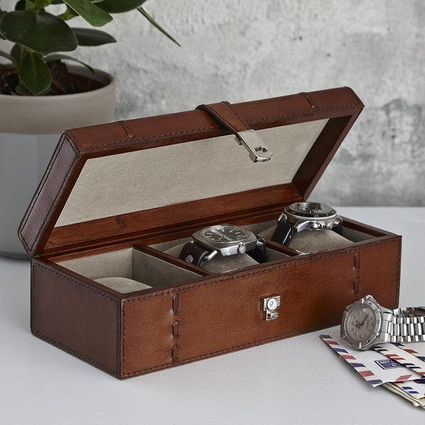 Conker brown leather three watch box