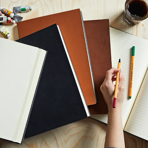 A4 leather bound notebooks