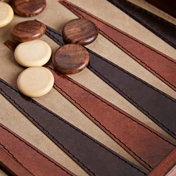 close up of the leather backgammon board