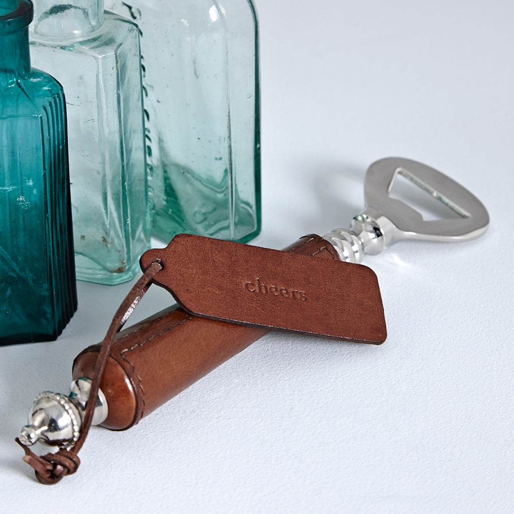 Leather Handled Bottle Opener And Corkscrew Gift Set