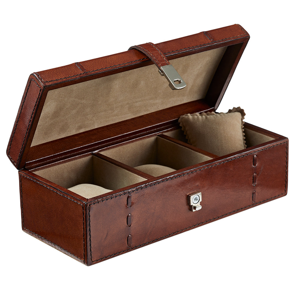 Personalised Seconds - Conker Brown Leather Watch Box For Three -  DJS