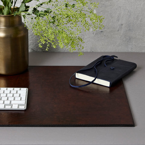 Dark chocolate brown leather desk mat