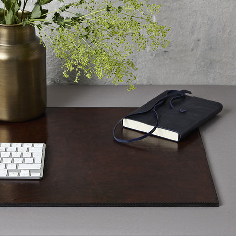 Dark brown leather desk mat
