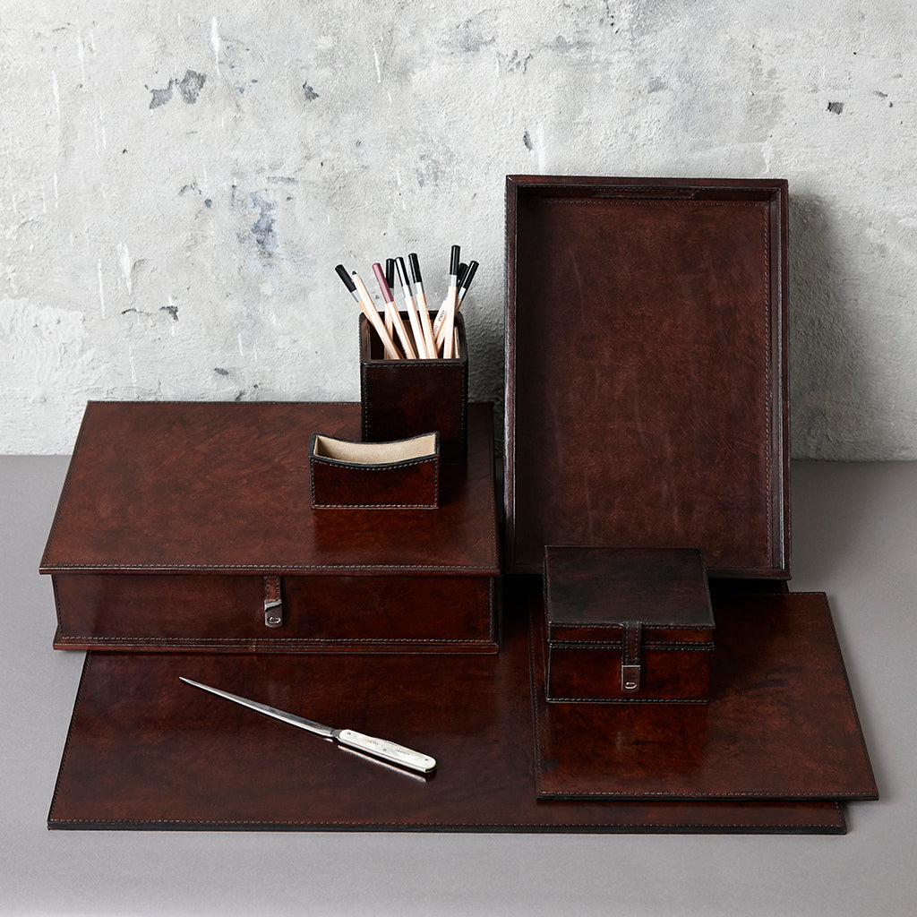 Dark chocolate brown leather desk collection