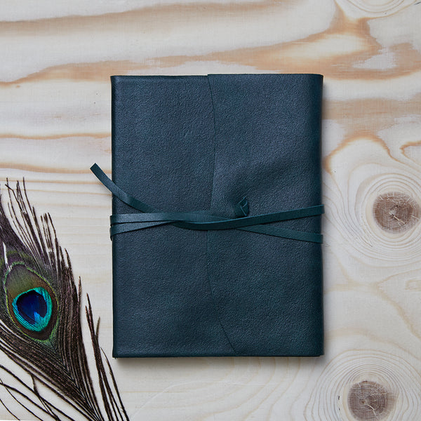 Forest Green leather tie journal