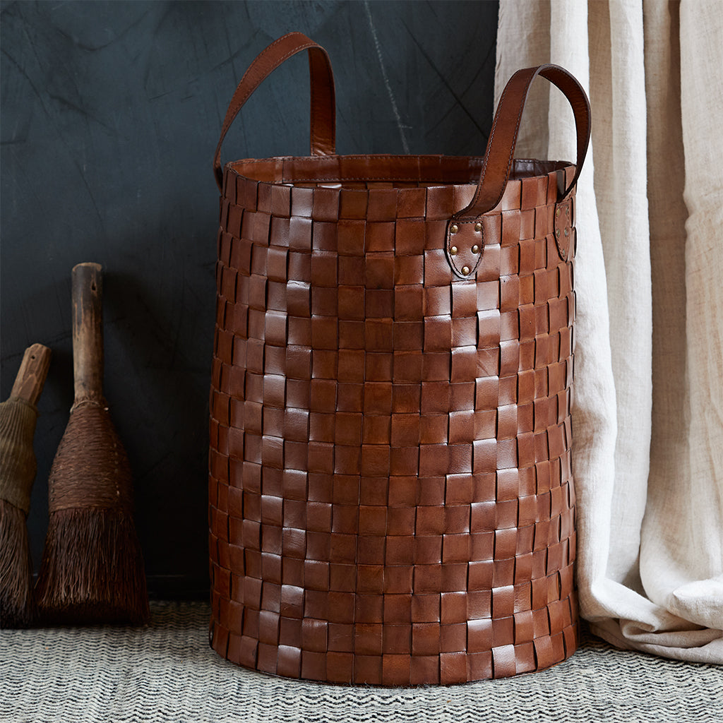 tall leather woven basket