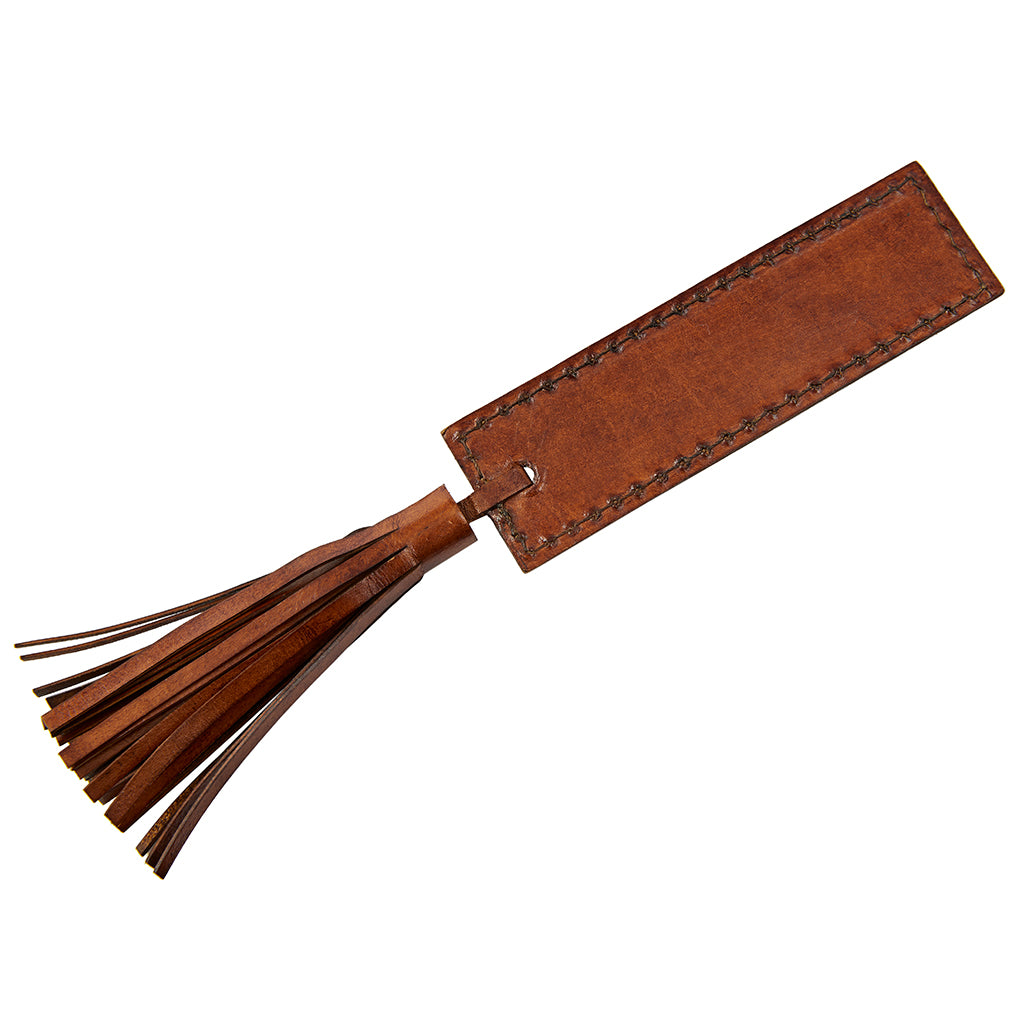 Leather bookmark conker brown cut out