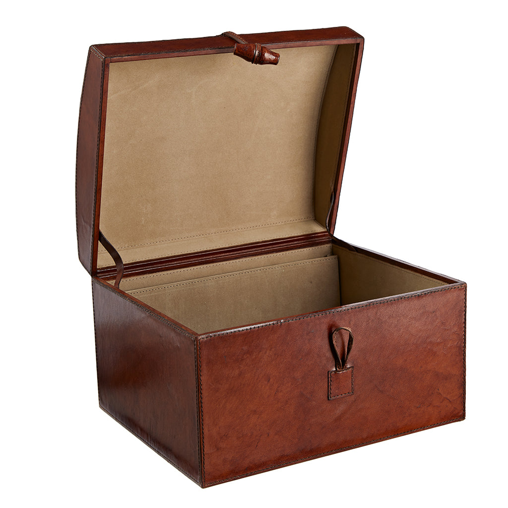 leather memory box open cut out