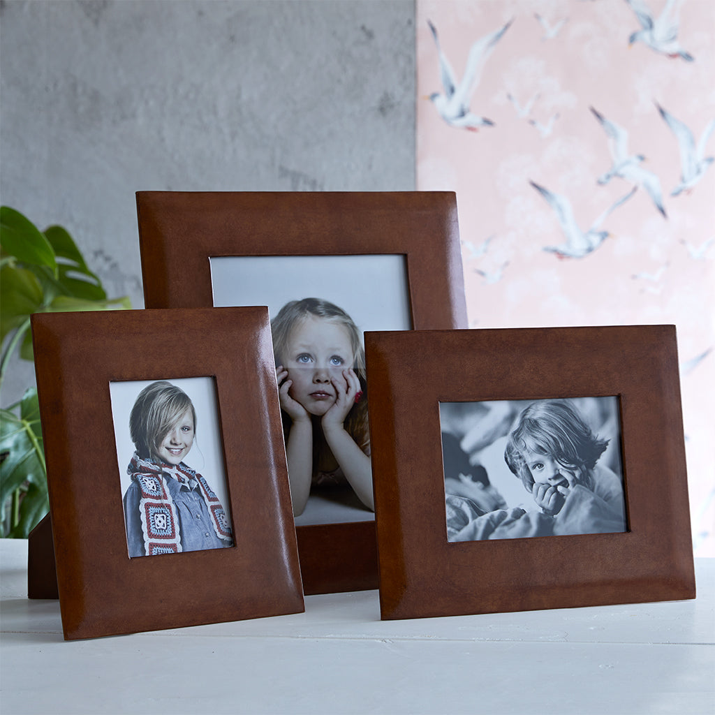 Leather picture frames in three sizes