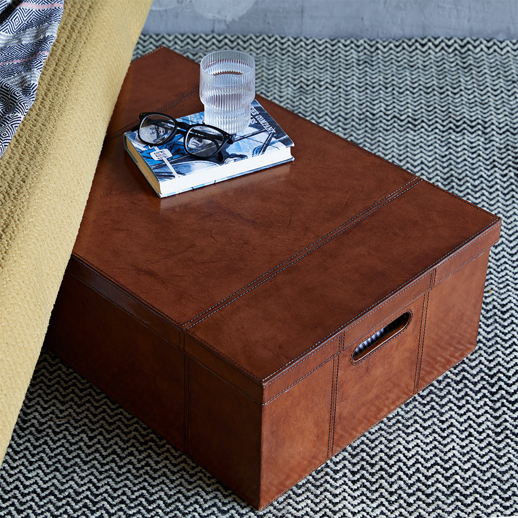 Underbed storage box with lid and cutout handles