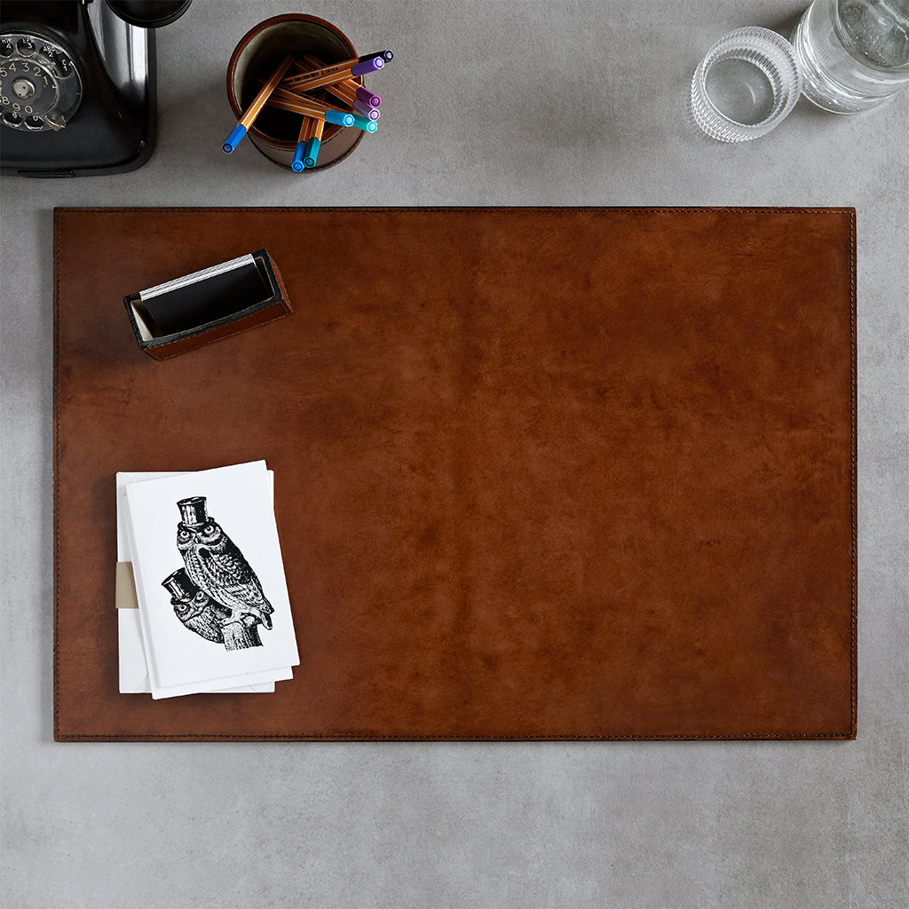 Conker brown leather desk mat with no personalisation