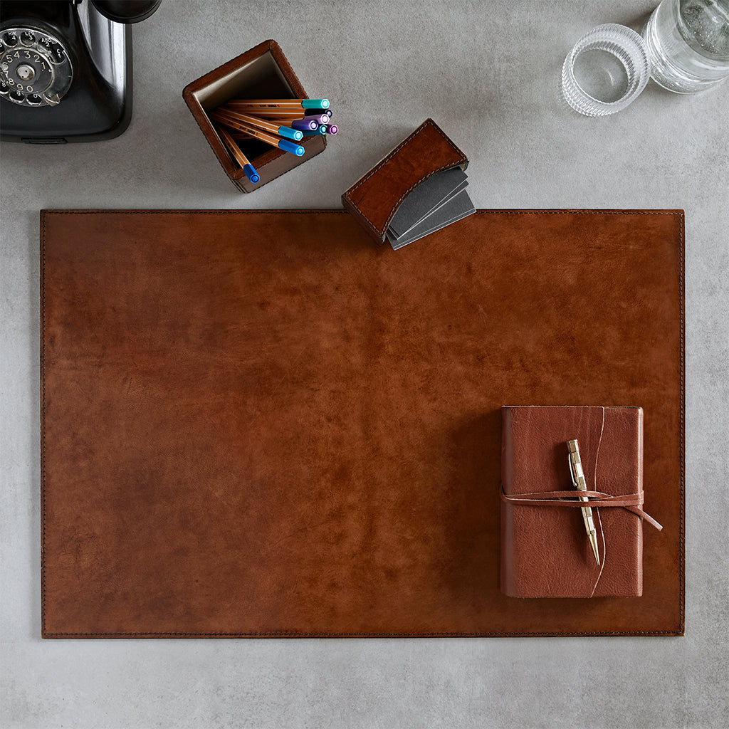 Conker brown leather desk mat with notebook