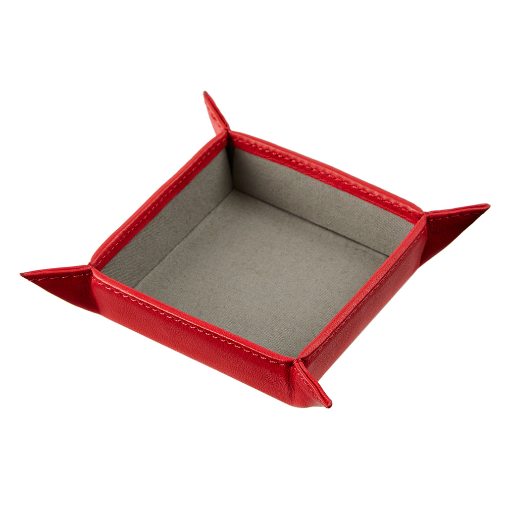 Poppy red  leather coin tray personalise on base