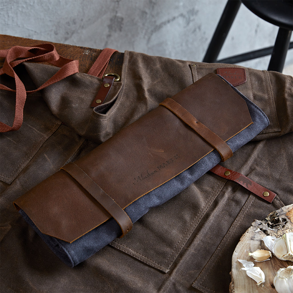 add a waxed canvas apron to coordinate with knife roll