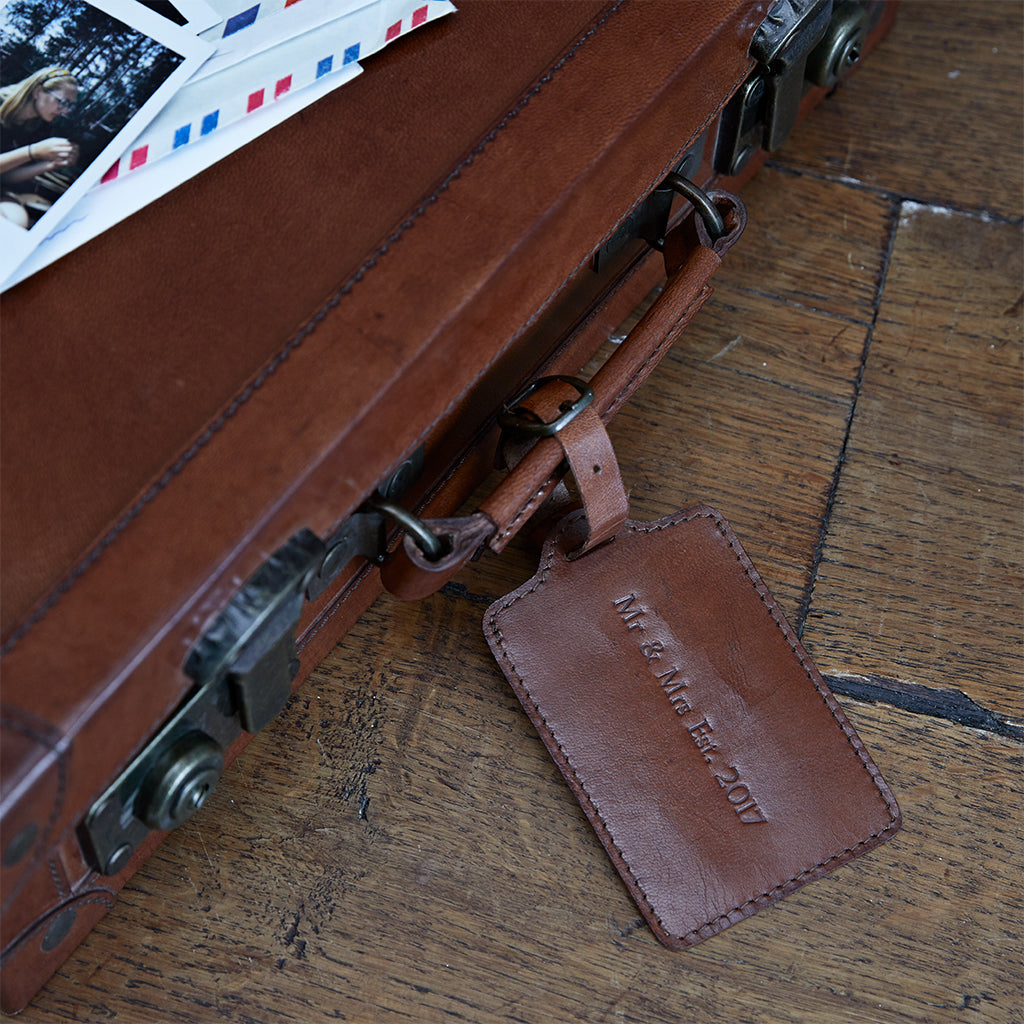 personalised luggage tag on suitcase