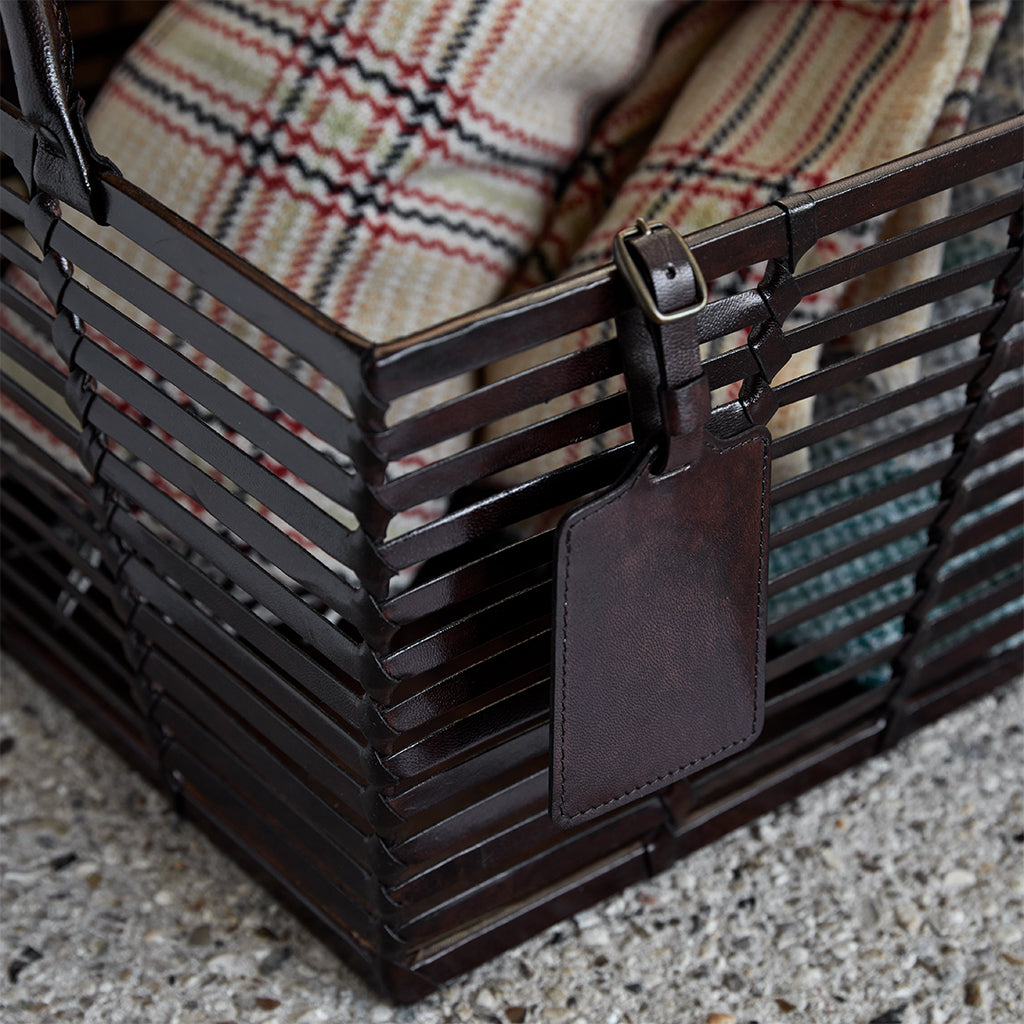 Leather Slatted Basket