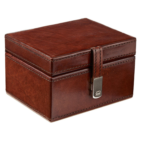 Leather Watch Box with Chrome Clasp - Seconds