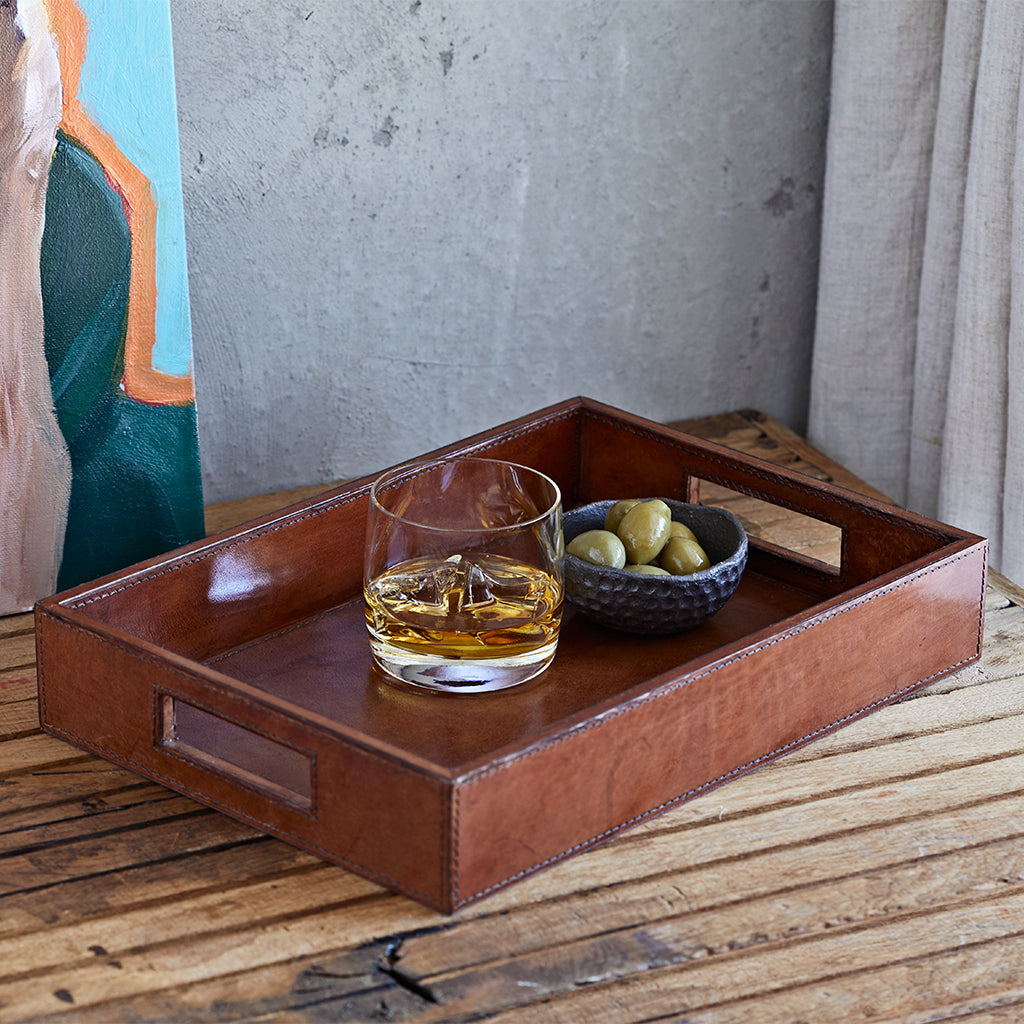 Conker brown small leather oblong tray