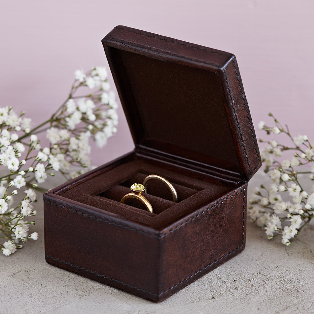 dark chocolate brown leather wedding ring box