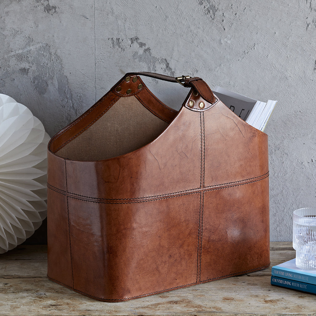 Buckled magazine basket in conker brown leather