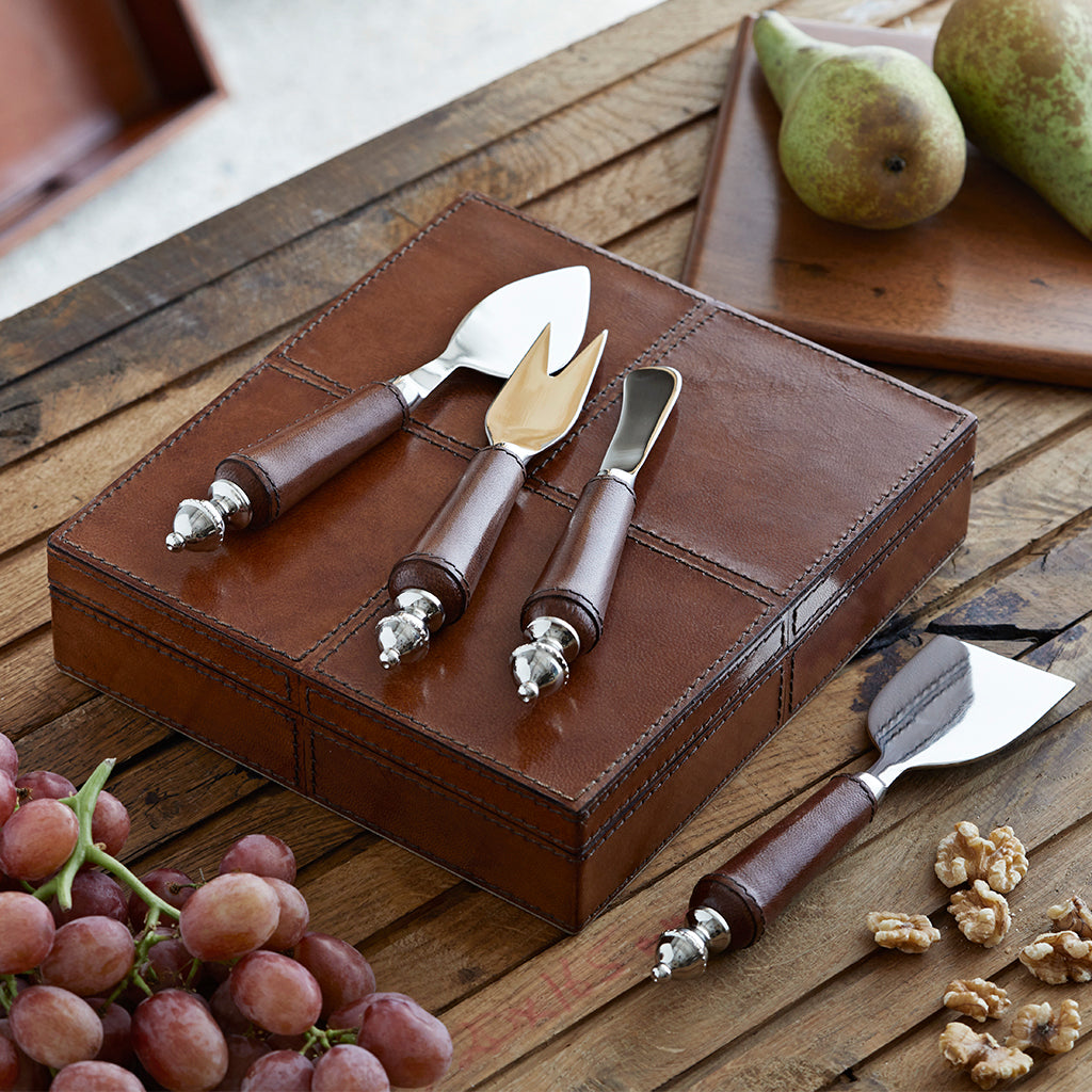 Leather Cheese Knife and Board Set
