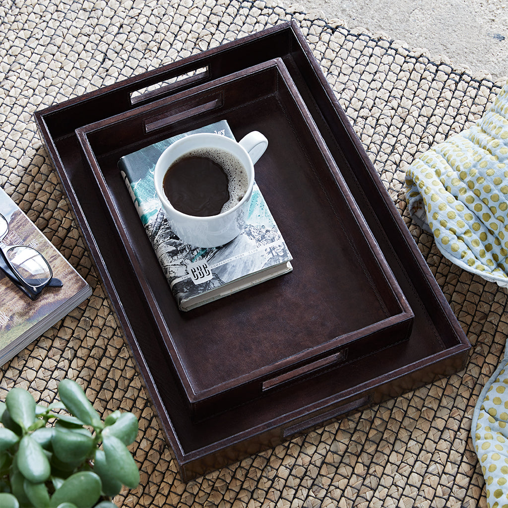 dark chocolate brown oblong Coffee tray with tea tray