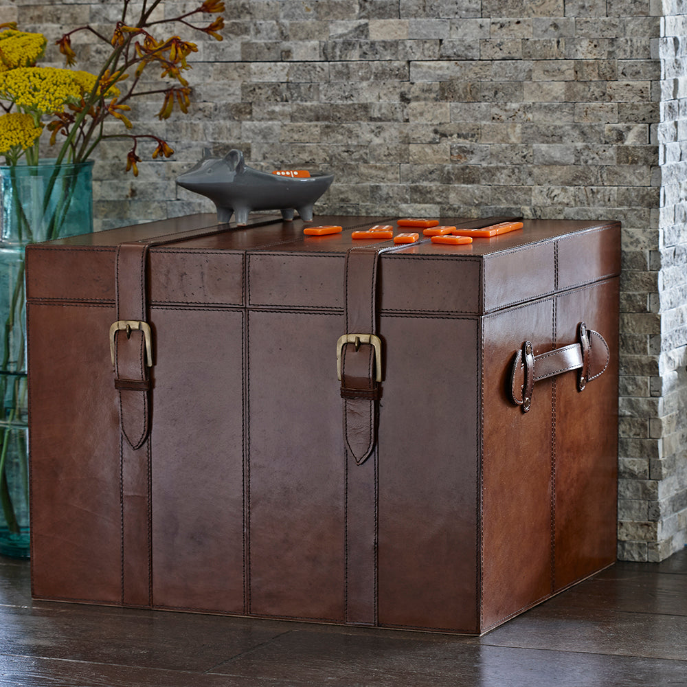 Leather Steamer Trunk as side table