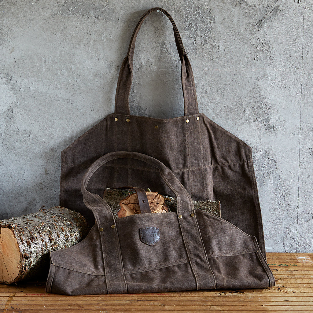 Waxed Canvas and Leather Strap Log Carrier