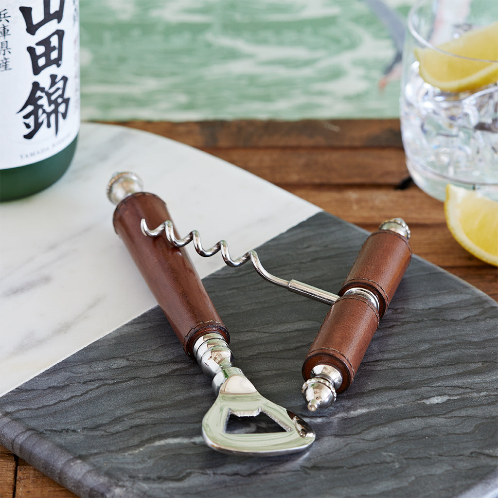 Conker brown leather bottle opener and corkscrew