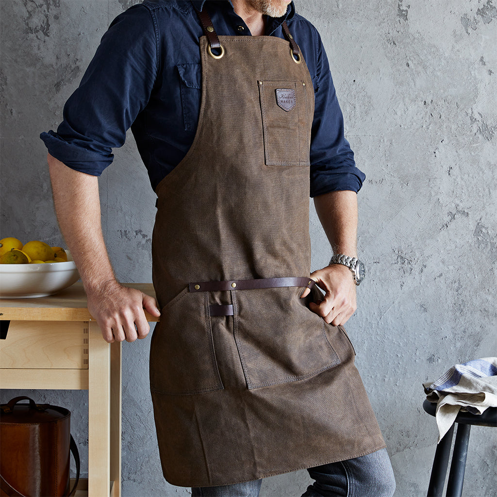 wax cotton and leather apron