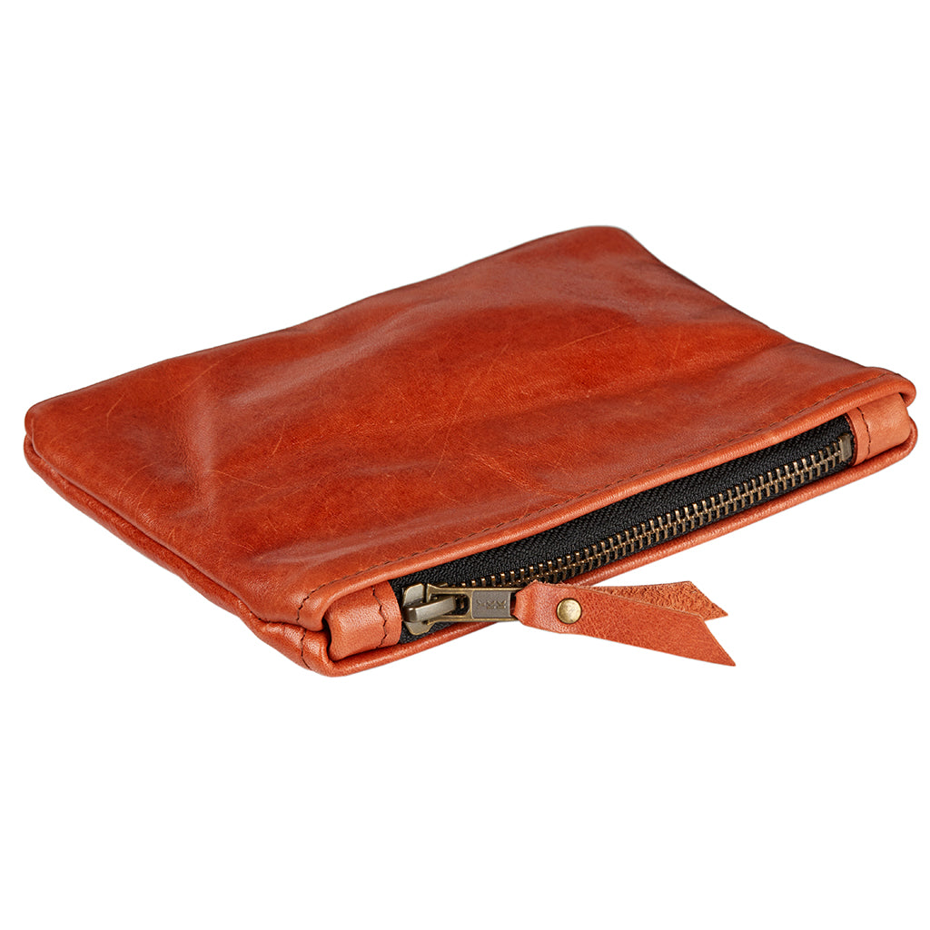 Soft Tan Leather Pencil Case Pouch for bic and sharpie pens