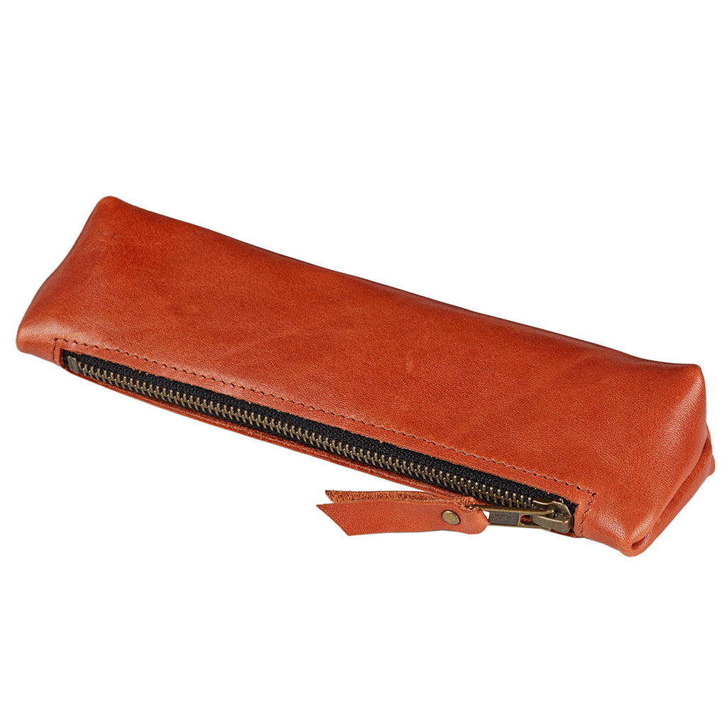 Soft Tan Leather Pencil Case for pens